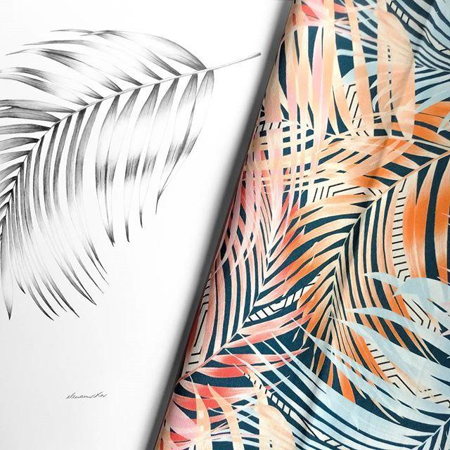 Dalla carta al tessuto: tutto inizia da un primo disegno fatto a mano elaborato poi digitalmente. Come questa foglia di palma che compone una delle nostre grafiche su tessuto preferite...Exotic! 🐅 Immaginatela su un cuscino, vi piace l'idea?  From paper to fabric: everything starts from a first sketch then digitally processed. Like this palm leaf that composes one of our favourite graphic...Exotic! 🐅 Imagine it on a pillow, do you like the idea?  #stampasostenibile #ecofriendly…
