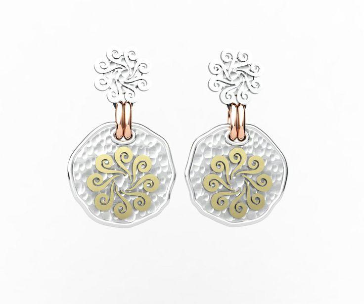 925 Sterling Silver Earrings Pink & Yellow 18k. Gold #bohemme #jewelry #earrings #gold