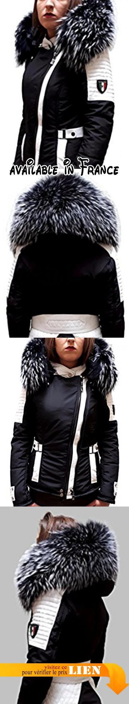 Silverstorn Doudoune cuir et fourrure Bi-Matière, Cuir D'agneau, Silverstorn, Noir et Blanc, blouson, doudoune ,Veste, Perfecto Femme, coupe cintrée, doudoune femme.  #Apparel #BLAZER