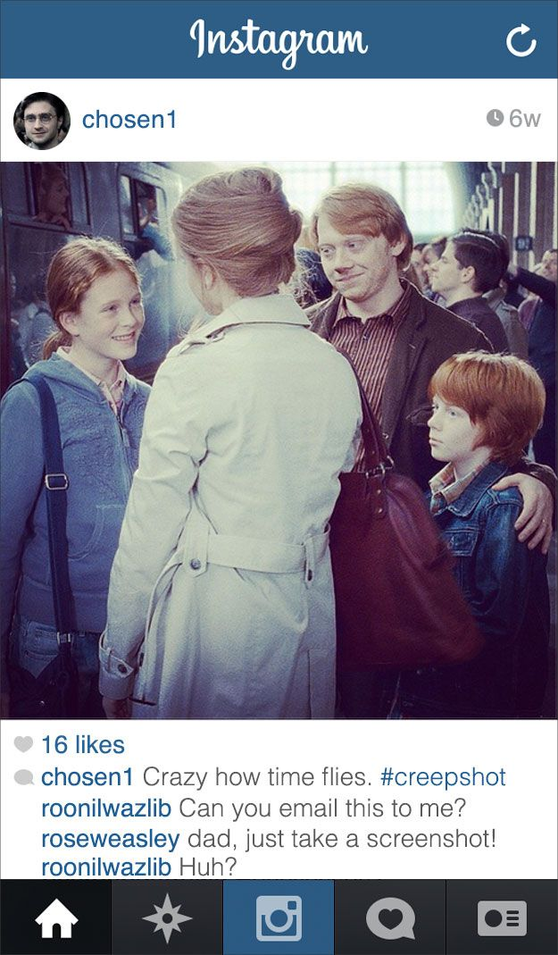 Harry Potter - just another dad with instagram. LOL! If Modern-Day Harry Potter Had Instagram via Buzzfeed Books.