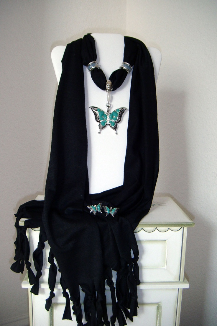 Black Jewelry Scarf Butterfly Pendant with by 2sistersunique