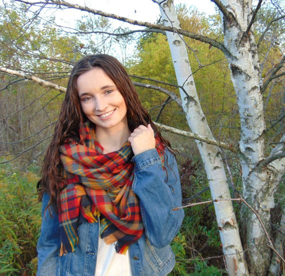 Blanket Scarf Plaid Scarf Oversized Scarf by JannysGirl on Etsy