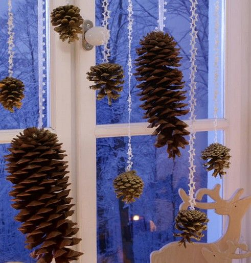 Christmas craft from pinecones.