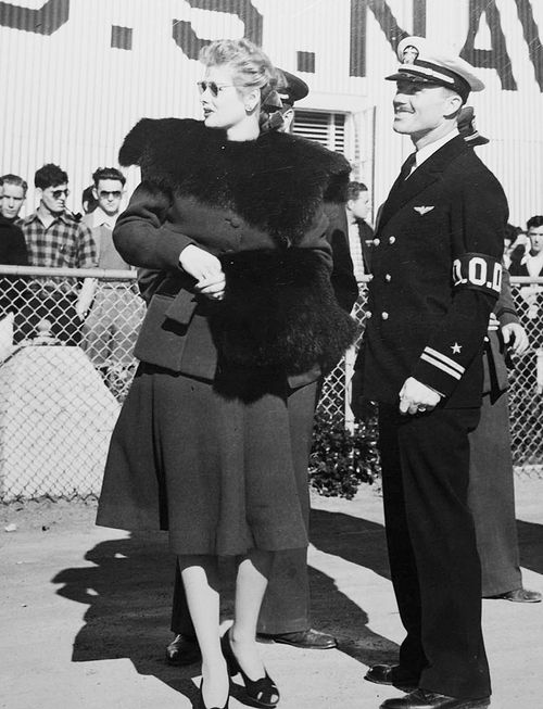 Lucille Ball at the opening ceremonies of the expansion of the US Naval Aviation Training Base at Oakland, California 1941