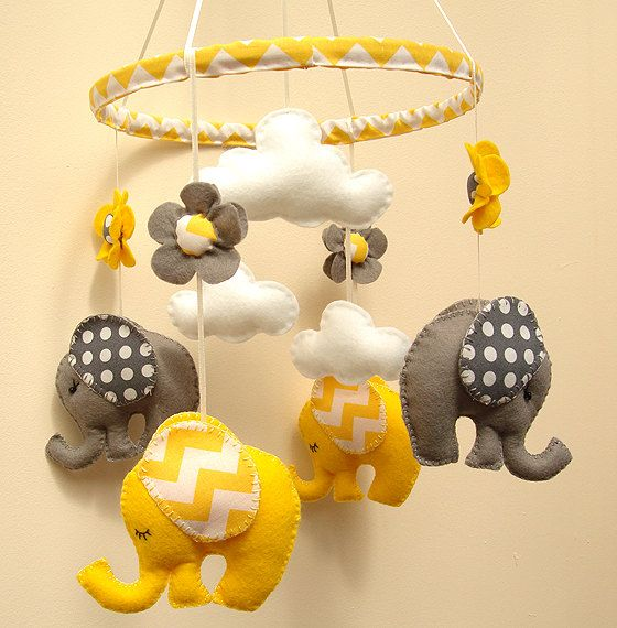 READY TO SHIP Yellow Grey Elephant Mobile by FlossyTots on Etsy, £58.00
