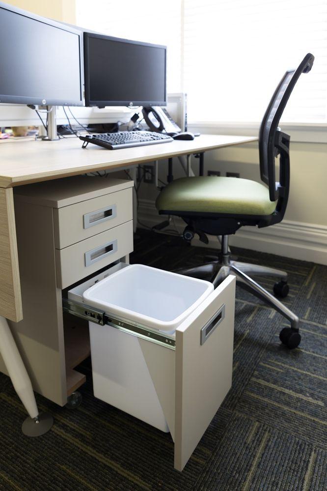 A 15L Hideaway Bin at a BHWL Office Desk.