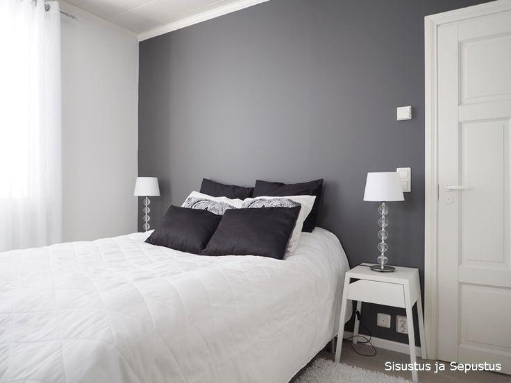 Sisustus ja sepustus: Basaltin harmaa makuuhuone.