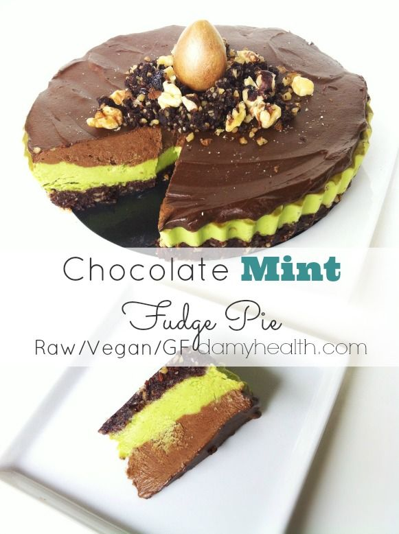 Chocolate Mint Fudge Pie (Raw/Vegan) This recipe is vegan, gluten free, raw, high fiber, contains sneaky healthy ingredients, is all natural ingredients and tastes oh so good!