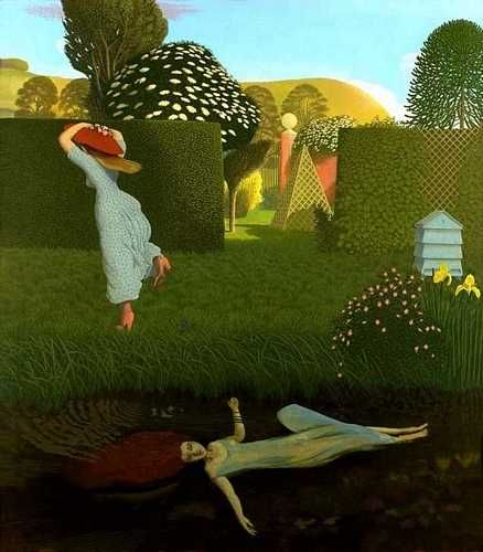 The River Bank (1981) by David Inshaw. Inspired by Millais's Ophelia.