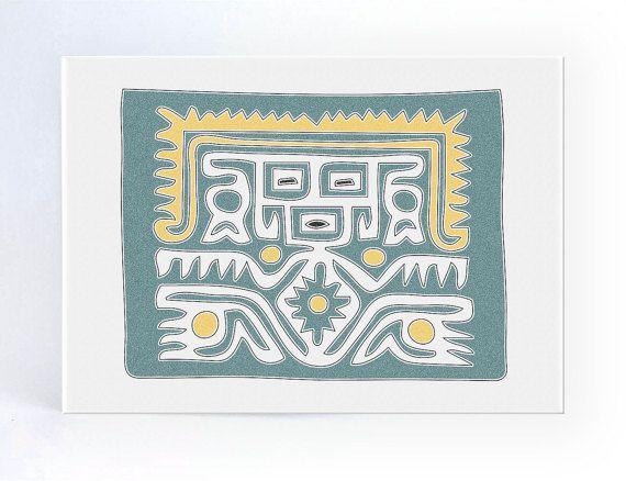 Tarjeta de Dios Azteca en Verde y blanco de por ColorsforNuna