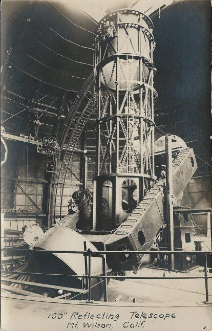 "Old Real Photo Postcard - 100"" Reflecting Telescope - MT. Wilson California"