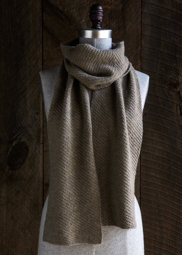 Free pattern- Purl Soho's shifting angles scarf. Simple easy design using line weight wool