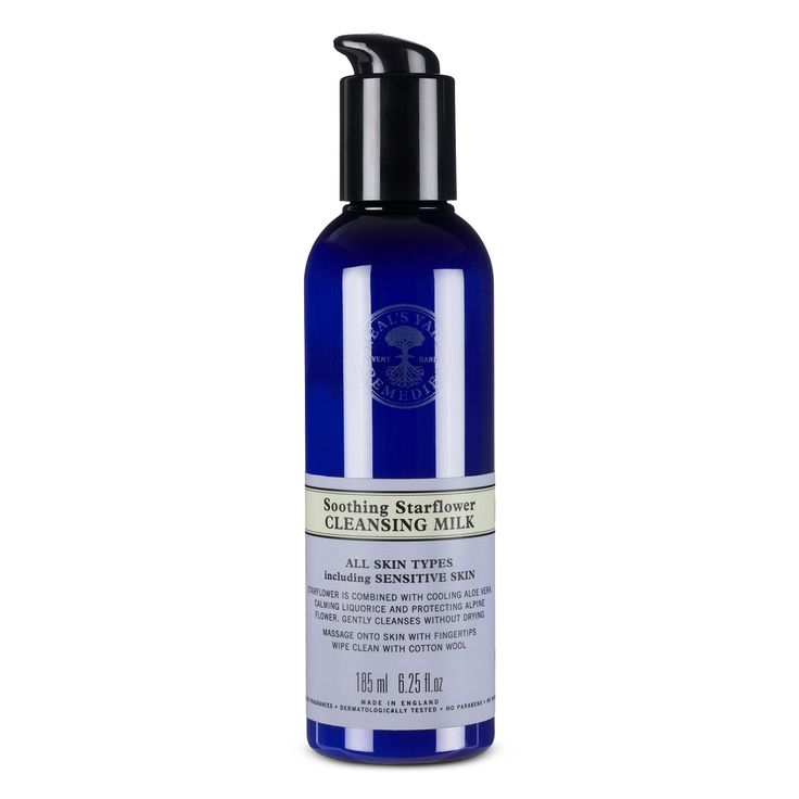 Starflower Cleansing Milk gently cleanses all skin types including sensitive skin. Not tested on animals, dermatologically tested