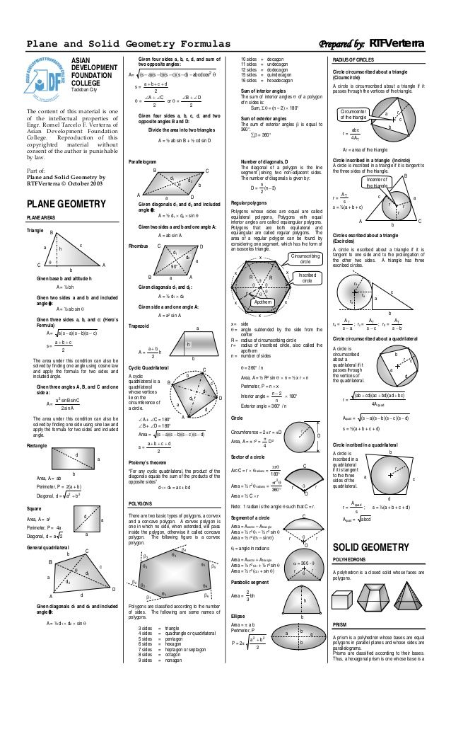 Plane and Solid Geometry Formulas.