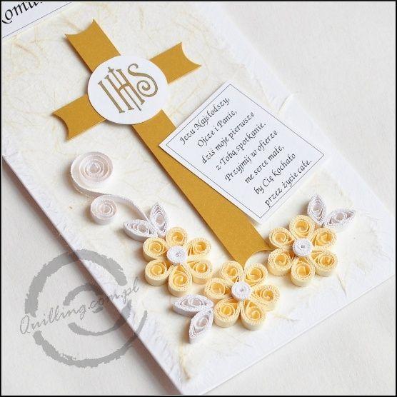 Tarjetas para primera comunión, hechas con Quilling