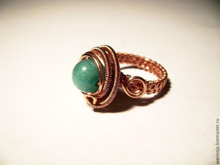 Купить Кольцо из меди и амазонита - голубой, кольцо, колье ручной работы, кольцо из меди