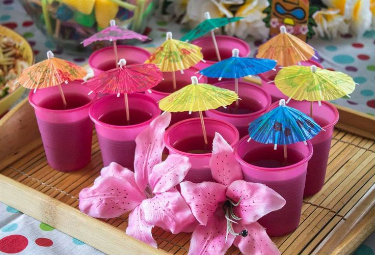 Duke's First Birthday - Hawaiian Party - Jelly Cups
