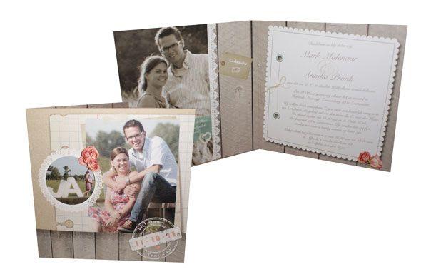 trouwkaart, landelijk, steigerhout, hout, lief, romantisch, kant, roosjes