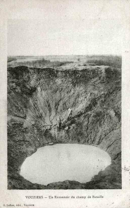 WW1, French Postcard. Huge minecrater, Vouziers. metropostcard.com