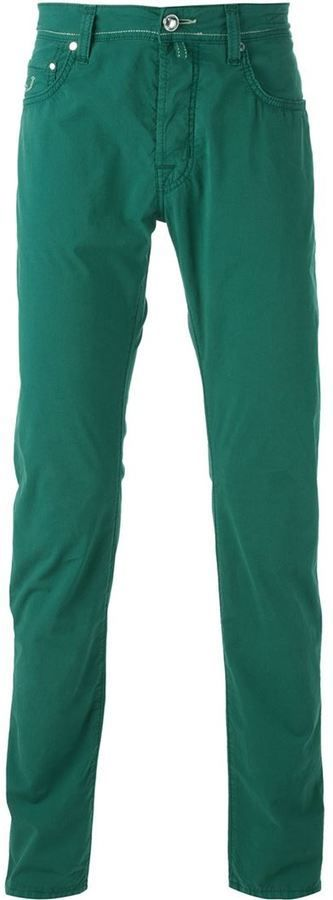 $141, Jacob Cohen Slim Fit Trousers. Sold by farfetch.com. Click for more info: https://lookastic.com/men/shop_items/393851/redirect