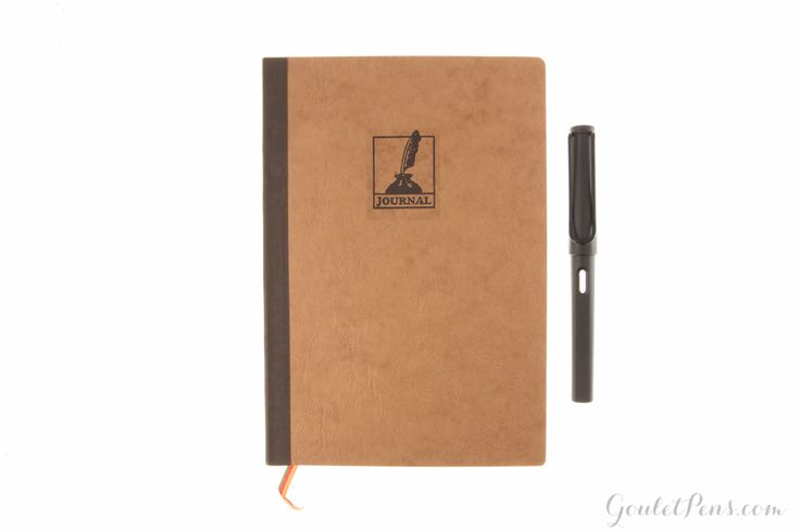 """Exacompta Basic journal containing ruled paper with a tan cover and gold edge. 25% cotton, pH neutral, 100g off white paper. 5 1/2"""" x 8 1/4"""" in size, with a ribbon marker."""