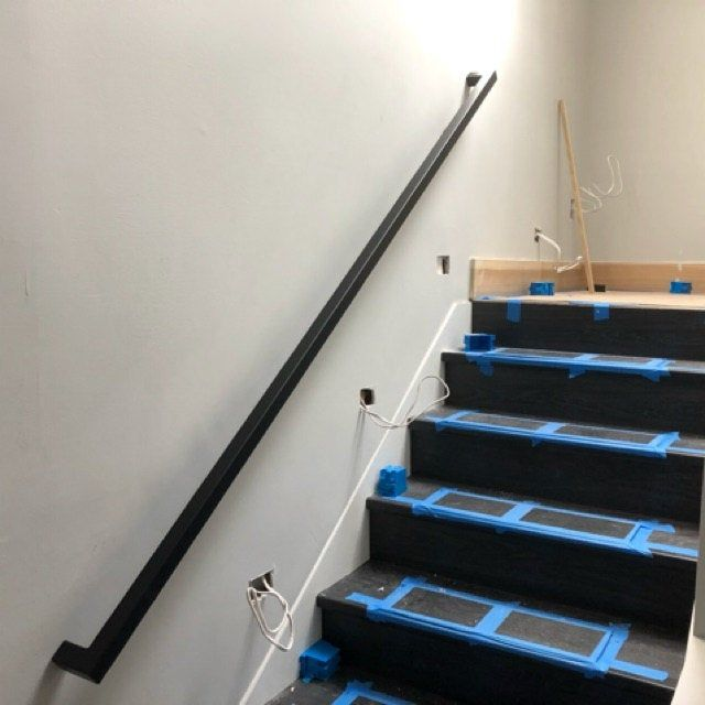 Modern 1 1 2 Custom Wrought Iron Hand Rail Ada Compliant Return End Wall Mount Handrail Stair Step Railing Made To Order Made In The Usa In 2020 Wall Mounted Handrail Wrought Iron