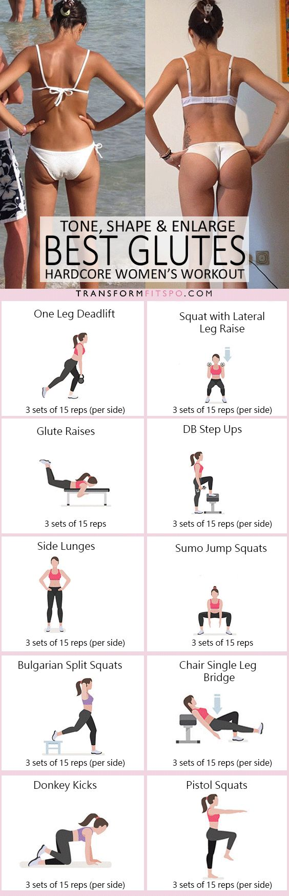 #womensworkout #workout #femalefitness Repin and share if this workout gave you a big bum! Click the pin for the full workout.