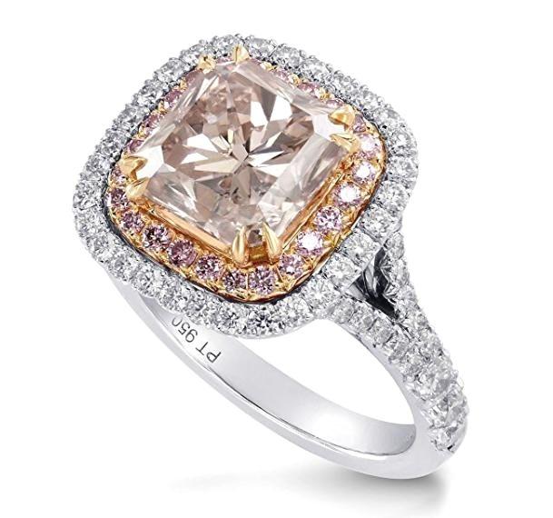 Cute Trendy Pink Diamond Engagement Halo Ring Argyle Set in K White Rose Gold