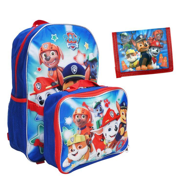 Paw Patrol Boys Backpack & Lunch Bag and Kids Bi-Fold Wallet 3Pcs