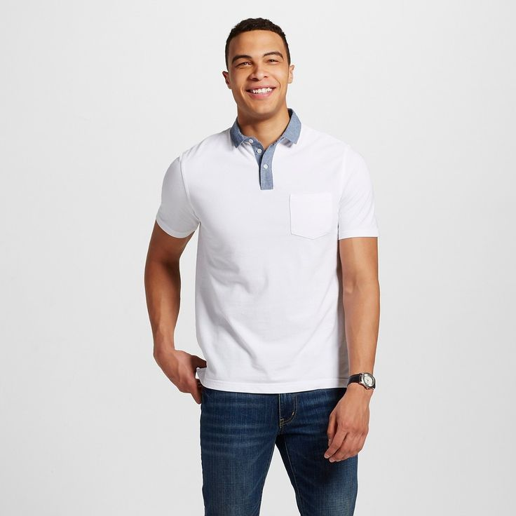Men's Polo Shirt White M - Merona