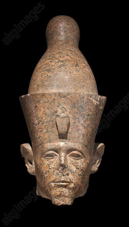 Head of Sesostris III (Senusret III), red granite statue, from the Temple of Amun at Karnak. Egyptian civilisation, Middle Kingdom, Dynasty XII. Luxor, Ancient Egypt Museum