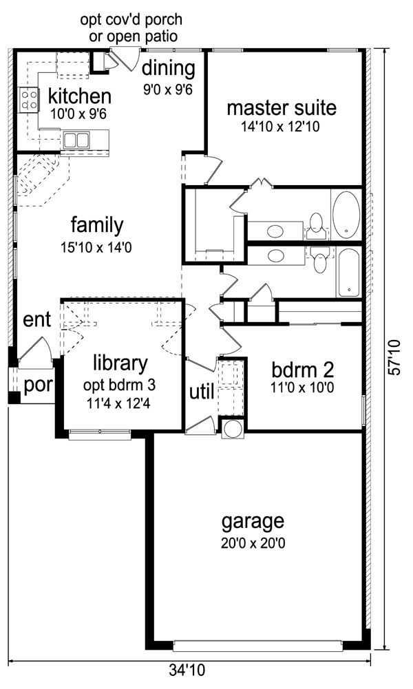Contemporary Cottage House Plan 69941 Level One