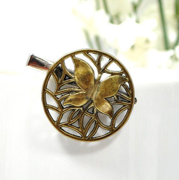 SALE  Butterfly Hair Clip Bronze Hair Pin Small Hair Clip