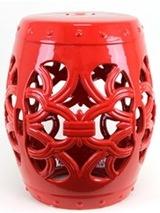 Beautiful Red Ceramic Garden Stool