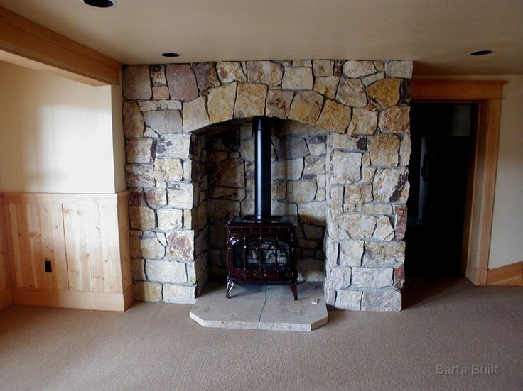 Wood Stove With Flagstone Fireplace Surround Fireplace