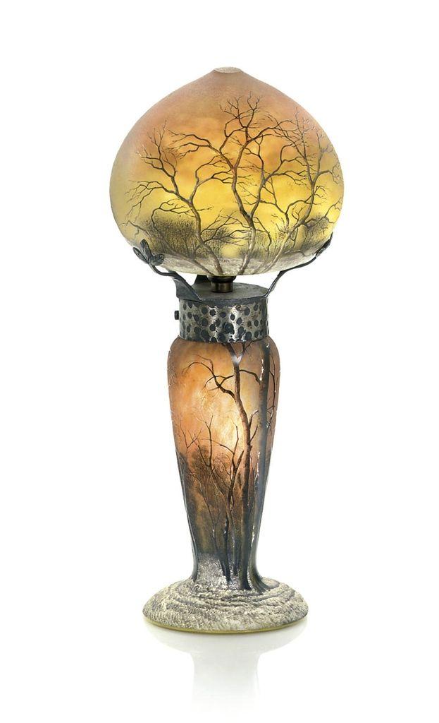 DAUM FRÈRES (F. 1825) |  PAYSAGE D'HIVER ENAMELLED LAMP, CIRCA 1900