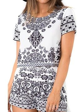 Shop Black Tile Print Short Sleeve Crop Top And Shorts from choies.com .Free shipping Worldwide.$16.9