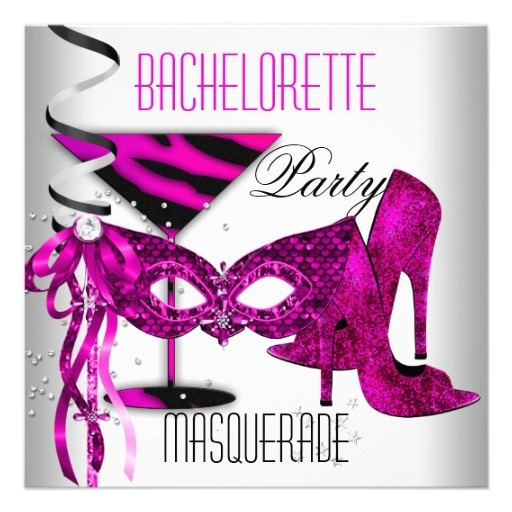 Pink Bachelorette Masquerade White High Heel Shoes Personalized Announcement