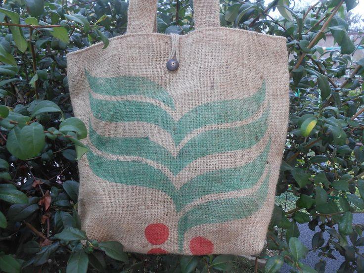 Grande borsa in tela juta riciclata da sacchi di caffè, idea regalo., by Le…