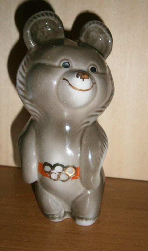 Olympic Bear Misha Porcelain Bear Figurine Soviet by NORMA171
