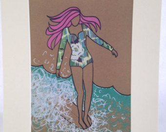 Signed mounted A4 print of Surfer girl by Spellboundbythesea