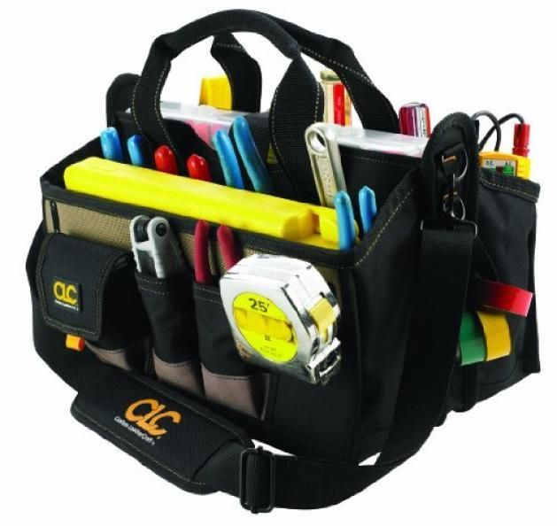 Electrician Tool Bag 15 Pocket 16 in Center Tray Pouch Large Storage Tools Bags #CustomLeathercraft