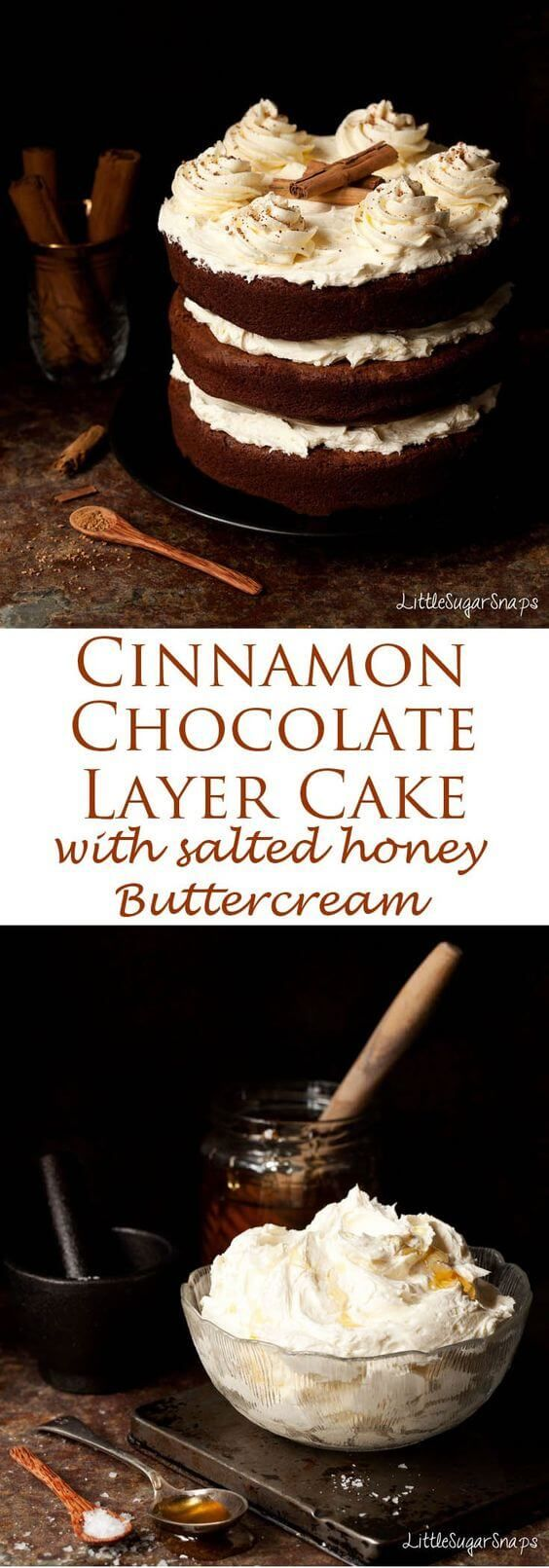 awesome Cinnamon Chocolate Cake with Salted Honey Buttercream