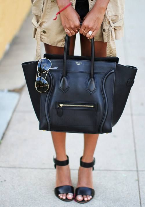 Celine bag. No one will ever understand how badly I want one. Loving this Celine bag in black. Structured but relaxed. Can you spell perfect?????!?