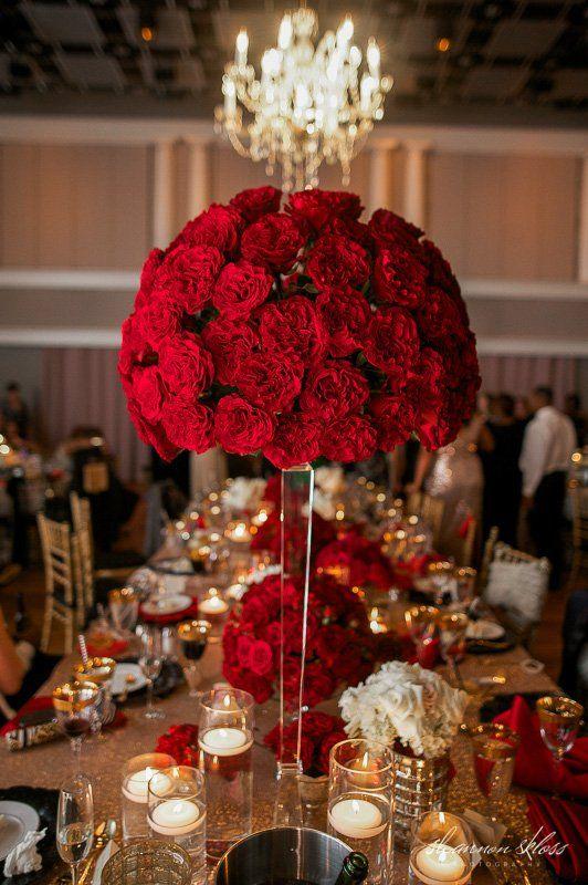Tall Red Rose Wedding Centerpiece Gold Sequin Linen Red