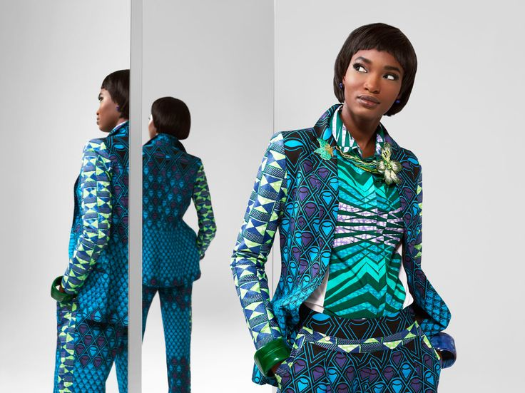 A wealth of stunning Vlisco fabrics past, present and future converge to create a superbly architectural outfit...
