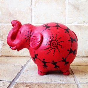 Red Terracotta Warli Handpainted Openable Piggy Bank