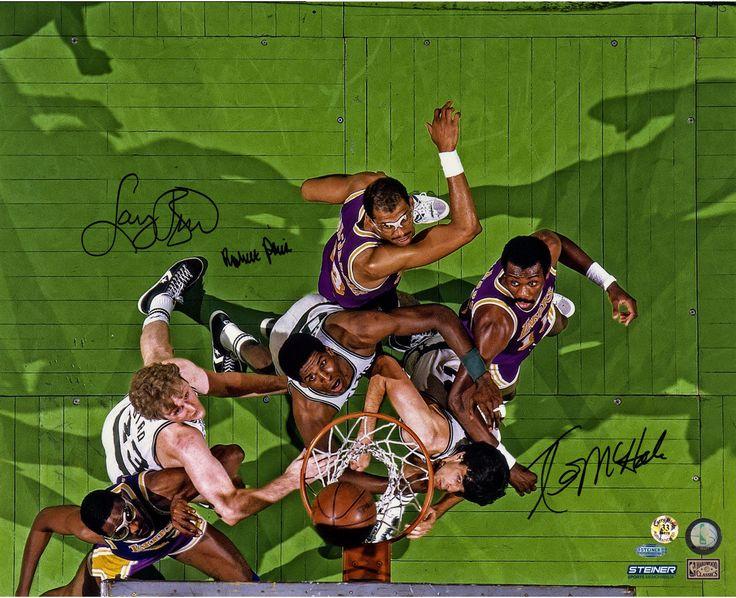 Robert Parish/Larry Bird/Kevin McHale Triple Signed Boston Celtics vs Los Angeles Lakers Aerial View 16x20 Photo