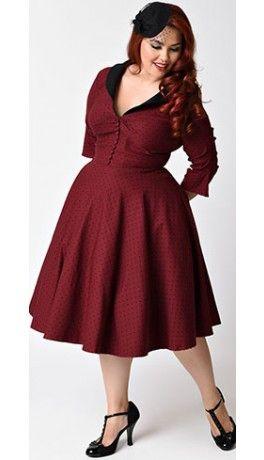 Unique Vintage Plus Size 1950s Burgundy & Black Dot Sleeved Eva Marie Swing Dress