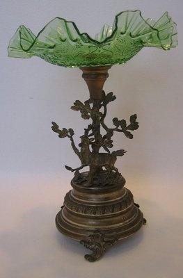 Antique Metal Art Nouveau Hunt Epergne Stag Oak Tree Green Glass
